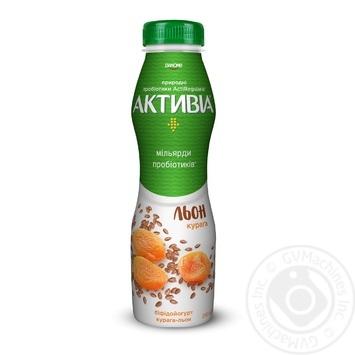 Бифидойогурт питьевой Данон Активиа курага-лён 1.5% 290г - купить, цены на Фуршет - фото 1