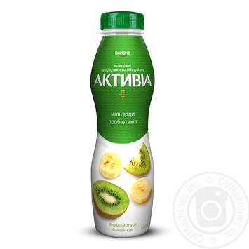 Бифидойогурт Активиа Банан-киви питьевой 1,5% 580г - купить, цены на МегаМаркет - фото 1