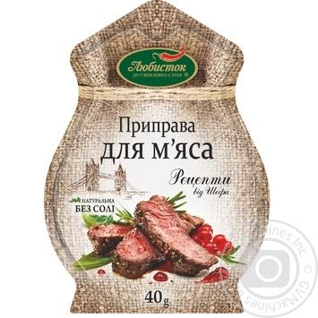 Приправа Любисток Рецепты от шефа к мясу б/соли 40г - купить, цены на Novus - фото 1
