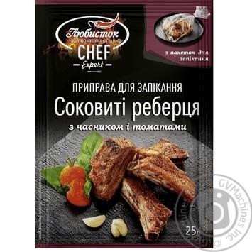 Приправа для запекания Сочные ребрышки Любисток с чесноком и томатами 25г - купить, цены на Novus - фото 1