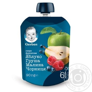 Пюре Gerber яблоко груша малина черника 90г - купить, цены на Метро - фото 1
