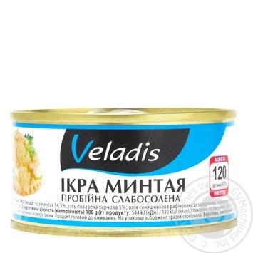 Икра минтая Veladis пробойная слабосоленая ж/б 120г - купить, цены на Восторг - фото 1