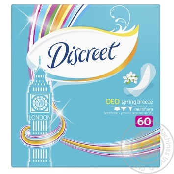 Ежедневные прокладки Discreet Deo Spring Breeze 60шт - купить, цены на Novus - фото 1
