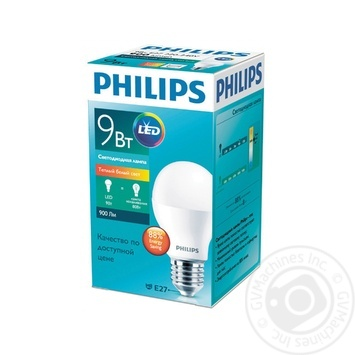 Лампа светодиодная Philips ESS LEDBulb 9W-100W E27 3000K 230V A60 RCA - купить, цены на Novus - фото 1