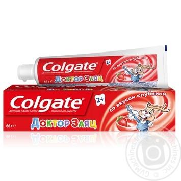 Детская зубная паста Colgate Доктор Заяц со вкусом клубники 50мл - купить, цены на МегаМаркет - фото 1