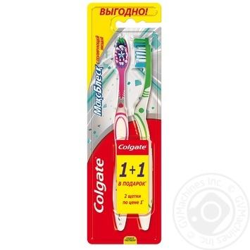 Зубна щітка Colgate Макс Блиск середньої жорсткості 1+1шт - купити, ціни на Ашан - фото 1