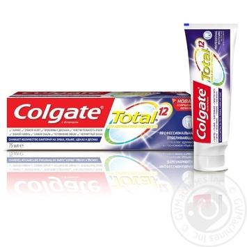 Зубная паста Colgate Total 12 Профессиональная Отбеливающая комплексная антибактериальная 75мл - купить, цены на Novus - фото 1