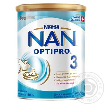 Смесь молочная Нестле Нан 3 сухая для детей с 12 месяцев 800г - купить, цены на Ашан - фото 1