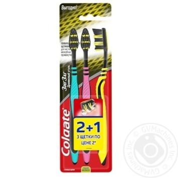Зубна щітка Colgate Зиг Заг Деревне вугілля середньої жорсткості 2+1шт - купити, ціни на Ашан - фото 1