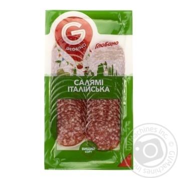 Колбаса Глобино Салями Итальянская нарезка сырокопченая высшего сорта 80г - купить, цены на Фуршет - фото 1
