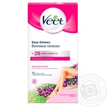 Восковые полоски Veet для эпиляции с маслом Ши и экстрактом ягод асаи для нормальной кожи 12шт - купить, цены на МегаМаркет - фото 1