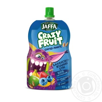 """Smothie- puree Jaffa Crazy Fruit """"Banana - berry boom"""" Banana-apple-blueberry-strawberry-cereal 100 ml - buy, prices for Auchan - image 1"""