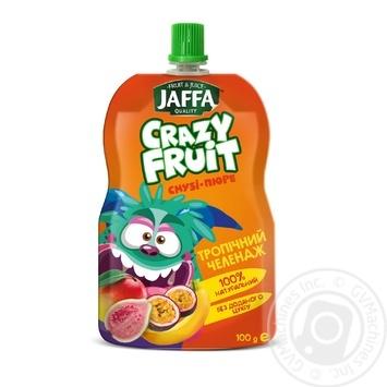 """Смузі-пюре Jaffa Crazy Fruit """"Тропічний челендж"""" Манго-банан-гуава-маракуйя 100мл - купити, ціни на МегаМаркет - фото 1"""