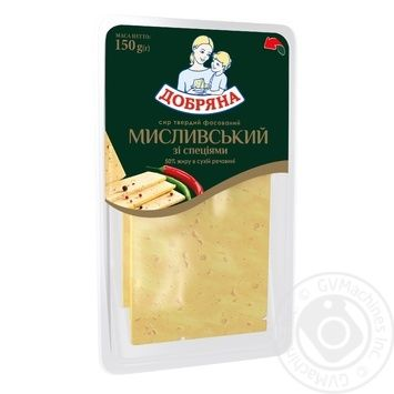 Cheese Dobriana Hunter's style with spices hard 50% 150g Ukraine