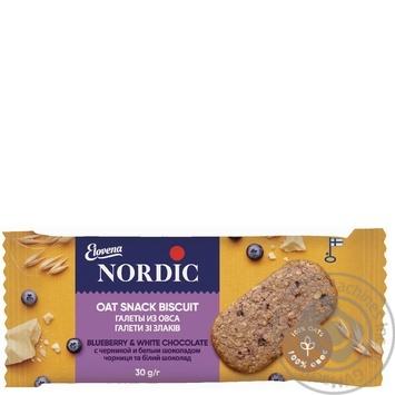 Галета овсяная Nordic с черникой и белым шоколадом 30г - купить, цены на Восторг - фото 1