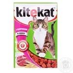 Корм Kitekat для взрослых кошек с телятиной в соусе 100г