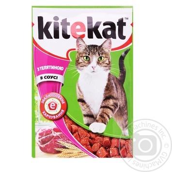 Корм Kitekat для взрослых кошек с телятиной в соусе 100г - купить, цены на СитиМаркет - фото 1
