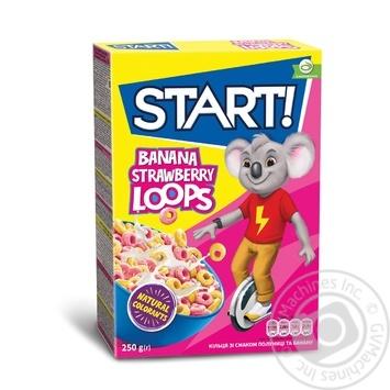 Сухие завтраки Start! Кольца со вкусом клубники и банана 250г - купить, цены на Novus - фото 1