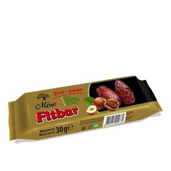 Смесь прессованных сухофруктов с измельченными орехами Misso Fitbar Финик+Фундук 30г