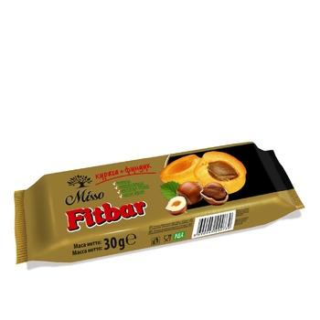Смесь прессованных сухофруктов с измельченными орехами Misso Fitbar Курага+Фундук 30г