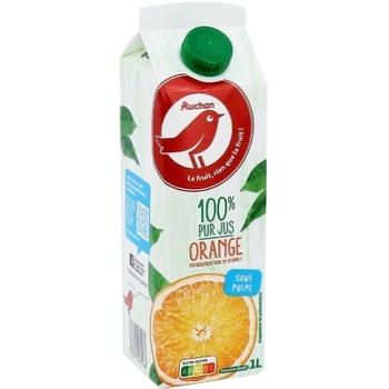 Сік Ашан апельсиновий 100% без м'якоті 1л