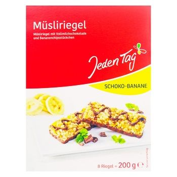 Jeden Tag Muesli Bar With Banana And Chocolate 200g - buy, prices for Furshet - image 1