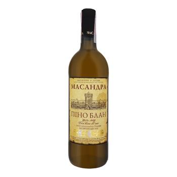 Вино Массандра Пино Блан Дель Мар белое полусладкое 9-13% 0,75л - купить, цены на МегаМаркет - фото 1