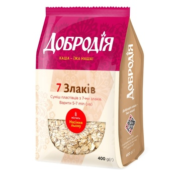 Dobrodiya 7 Cereals Flakes Mix 400g - buy, prices for Auchan - photo 1