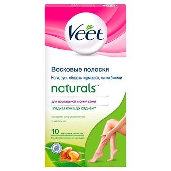 Восковые полоски для эпиляции Veet Naturals с маслом ши 10шт - купить, цены на Ашан - фото 1