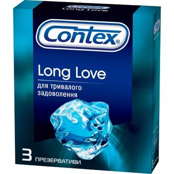 Презервативы Contex Long Love латексные для длительного удовольствия с анестетиком и силиконовой смазкой 3шт - купить, цены на Ашан - фото 1