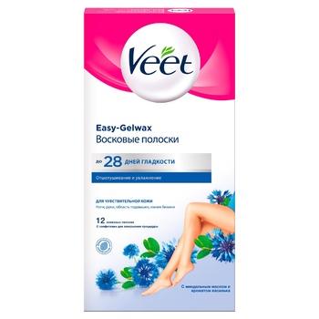 Восковые полоски Veet для эпиляции с витамином Е и миндальным маслом для чувствительной кожи 12шт - купить, цены на СитиМаркет - фото 1