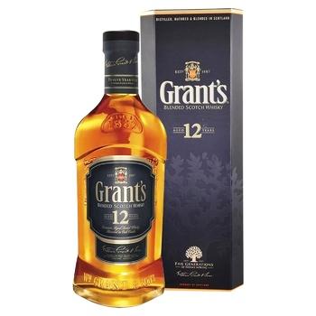 Віскі Grants 12 років 40% 0,75л - купити, ціни на МегаМаркет - фото 1