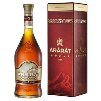Ararat 5 stars brandy 40% 0.7l gift box - buy, prices for Novus - image 1