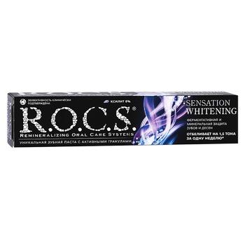 Зубная паста R.O.C.S. Сенсационное отбеливание 74г - купить, цены на Varus - фото 1