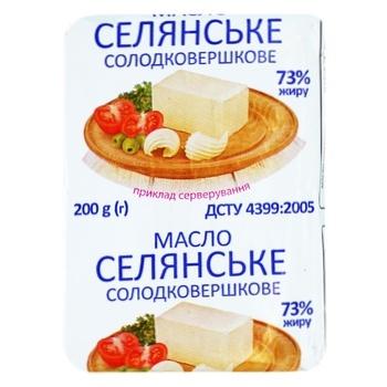 Масло солодковершкове Селянське 73% 200г - купити, ціни на Фуршет - фото 1