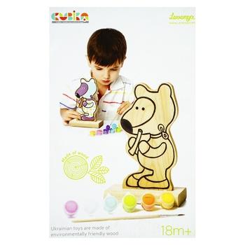 Игрушка Левеня Игра-раскраска Мишка с красками 13852