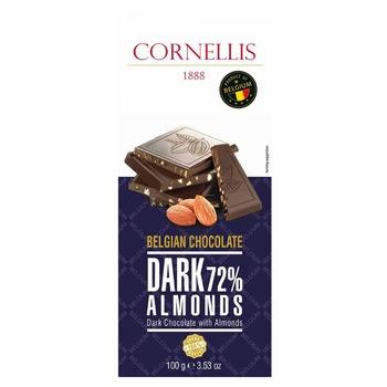 Шоколад Cornellis чорний з мигдалем 72% 100г