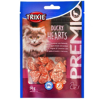 Trixie Premio Hearts Delicacies Duck and Pollock for Cats 50g - buy, prices for Auchan - image 1