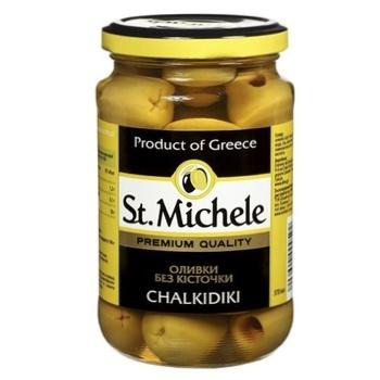 Оливки зеленые St.Michele Халкидики без косточки 360г