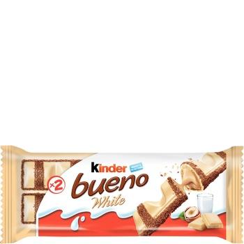 Вафли Kinder Bueno White с молочно-ореховой начинкой покрытые белым шоколадом 39г