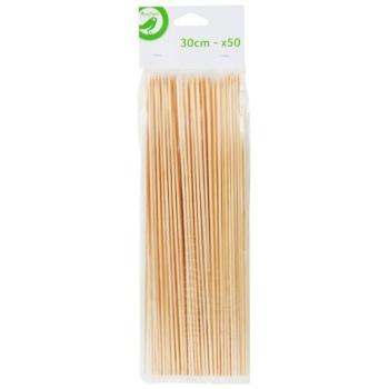 Шпажки Ашан деревянные 50шт*30см - купить, цены на Ашан - фото 1