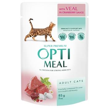 Корм OptiMealдля дорослих котів з телятиною в журавлиному соусі 85г