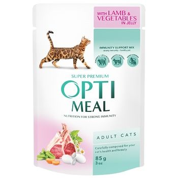OptiMeal Lamb with Vegetables in Jelly Feed 85g - buy, prices for CityMarket - photo 1