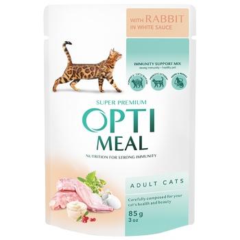 Корм ОптиМил Кролик в белом соусе для взрослых кошек 85г - купить, цены на СитиМаркет - фото 1