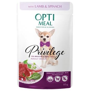 Корм ОптіМіл для дорослих собак мініатюрних і малих порід зі смаком ягнятини та шпинатом у соусі 85г