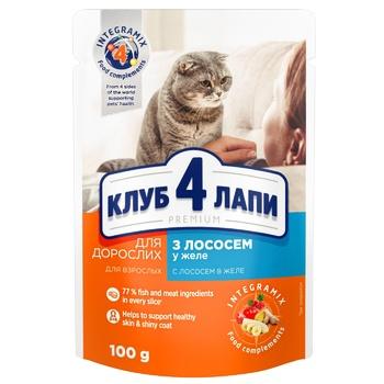Корм Клуб 4 лапи Преміум лосось желе для котів 100г - купити, ціни на Novus - фото 1