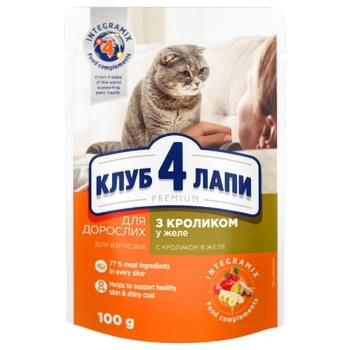 Корм Клуб 4 лапы Премиум кролик желе для кошек 100г - купить, цены на Novus - фото 1