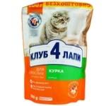 Корм Клуб 4 лапы Премиум курица для взрослых кошек 900г - купить, цены на Ашан - фото 1