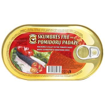 Филе Baltijos Konservai Скумбрии в томатном соусе 190г - купить, цены на Ашан - фото 1