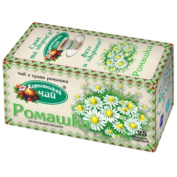 Herbal tea Karpatsky Chay Camomile teabags 20x1g - buy, prices for Auchan - photo 1